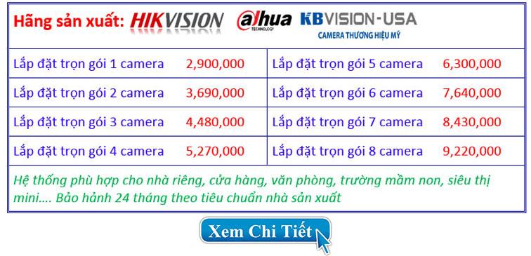 Báo giá chi tiết trọn gói lắp đặt camera 2.0mp