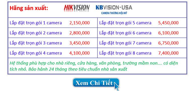 Bảng báo giá trọn bộ hệ thống camera 1.0 MP